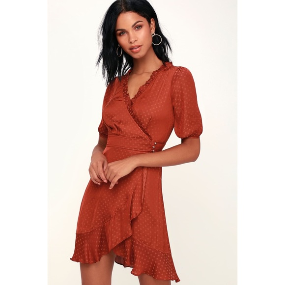 Lulu's Dresses & Skirts - Honey Punch Polka Dot Satin Wrap Dress